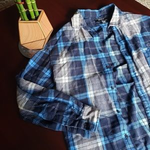 distressed acid blue and gray frayed flannel